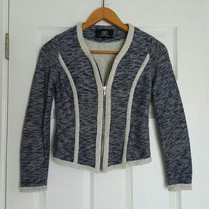 Tart Collections navy ivory zip front jacket XS